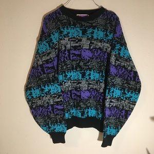 Vintage 90's Retro Blue Purple Black Sweater